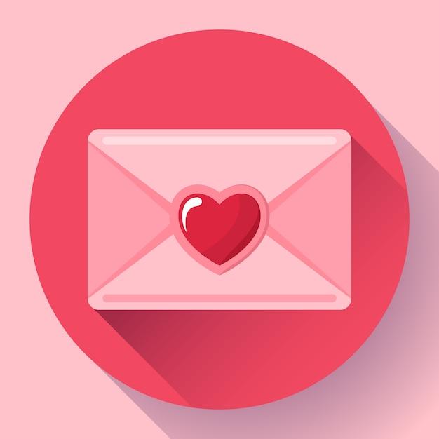 Конверт с сердцем розовый красный значок, с днем святого валентина любовное письмо, любовное послание, Premium векторы