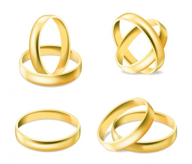 Набор золотых обручальных колец на белом фоне Premium векторы