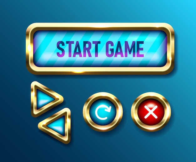 Реалистичные игровые кнопки на синем фоне. мобильные приложения. кнопки управления пользовательским интерфейсом, иллюстрации Premium векторы