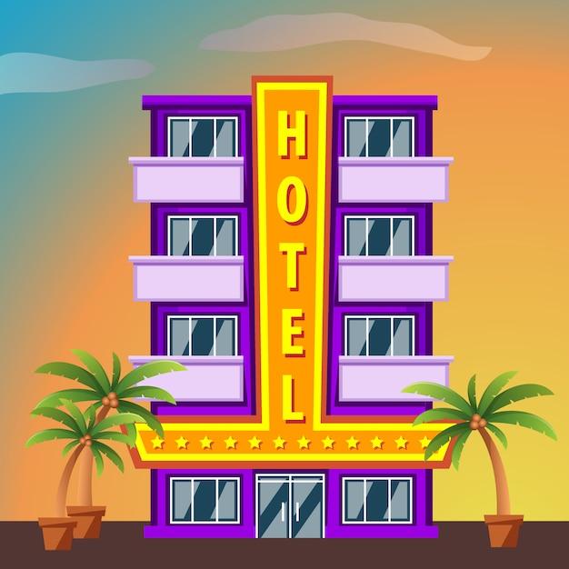 Здание отеля майами бич с пальмами на закате Premium векторы