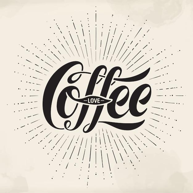 水彩画背景に手描きのレタリング碑文コーヒー愛。活版印刷と書道。 Premiumベクター