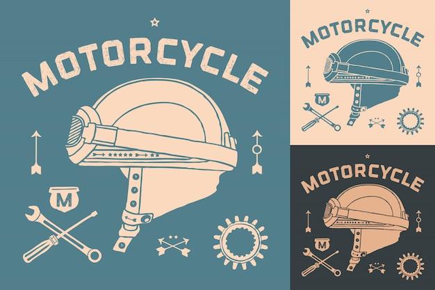 Плакат старинных гонки мотоциклетный шлем. набор ретро старой школы. векторные иллюстрации Premium векторы