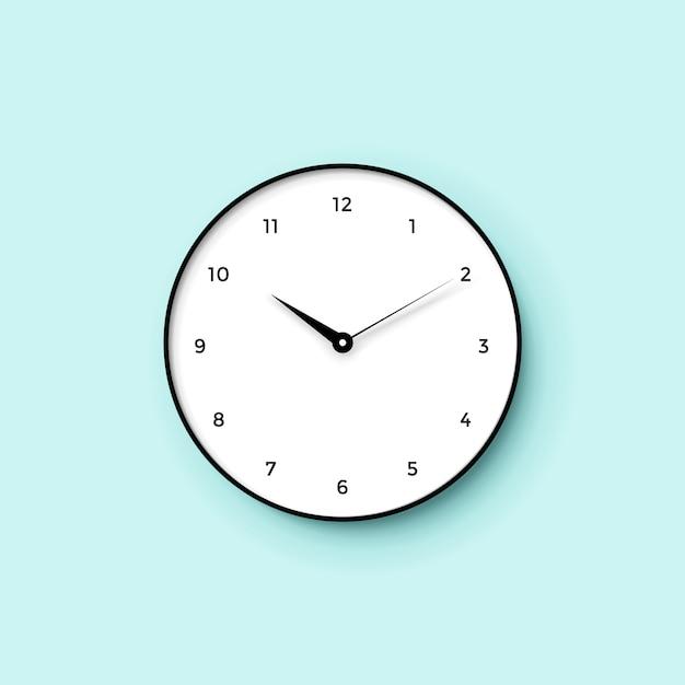 ミントの壁の背景に影と白い時計の顔のアイコン Premiumベクター