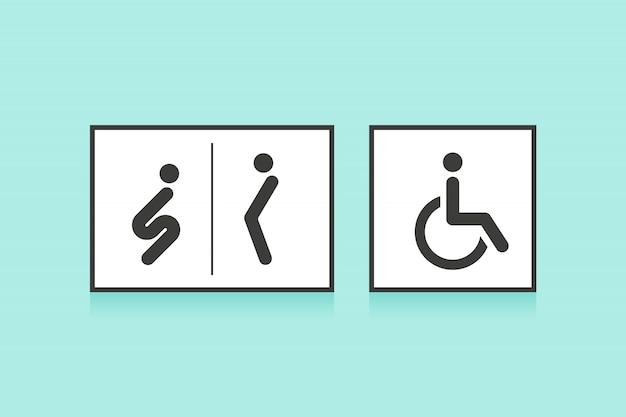Набор иконок для туалета или туалета. мужчина, женщина и инвалид человек символ Premium векторы