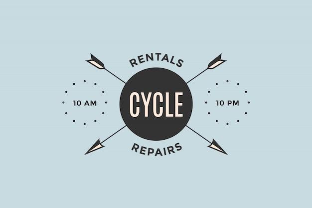 Эмблема магазина велосипедов со стрелками Premium векторы