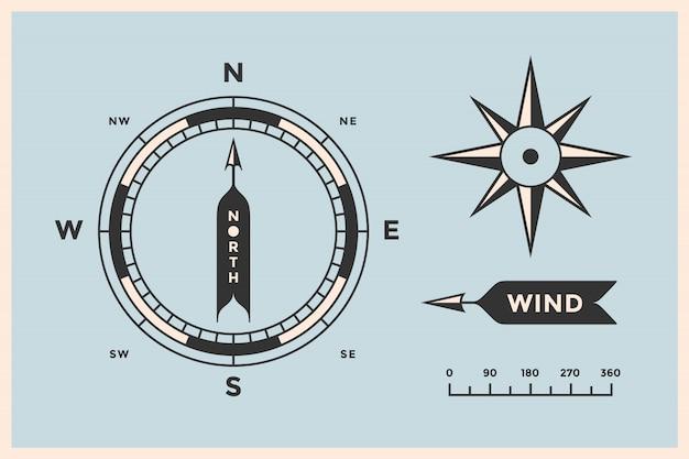 バラの風とコンパス。ビンテージの矢印、記号、ナビゲーションのオブジェクトのセット Premiumベクター