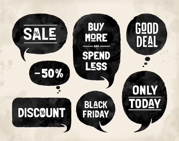 Набор пузырей, облачные разговоры, различные формы для тем продаж и скидок. Premium векторы