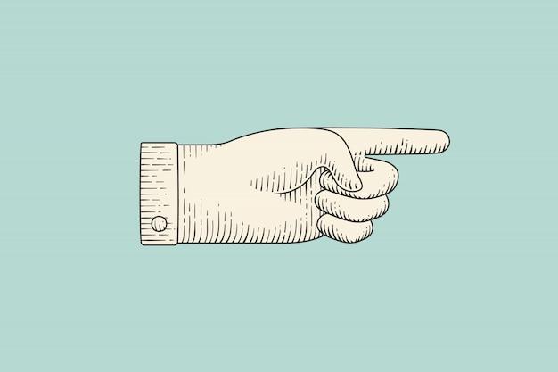 彫刻スタイルで人差し指で手のサインの描画 Premiumベクター