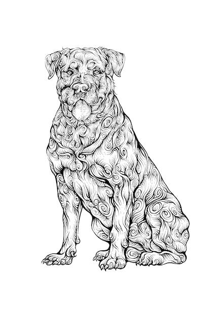 Ротвейлер собака рука рисунок Premium векторы
