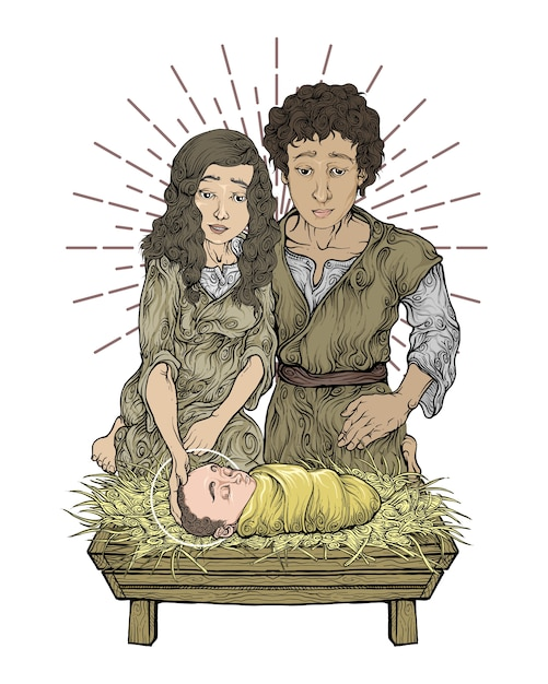 マリア、ジョセフ、色の手描きの赤ちゃんイエス Premiumベクター