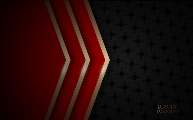 Темный абстрактный фон с красной текстурой слоев перекрытия с золотой линией Premium векторы