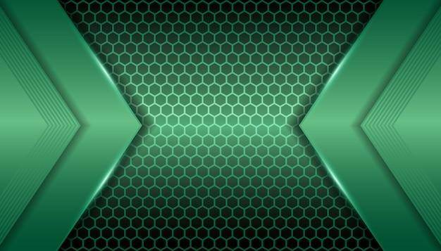 六角形の背景に抽象的な金属緑色の光 Premiumベクター
