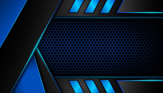 六角形の暗い背景に抽象的な青い光 Premiumベクター