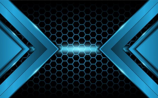 六角形の背景に抽象的な青い光 Premiumベクター