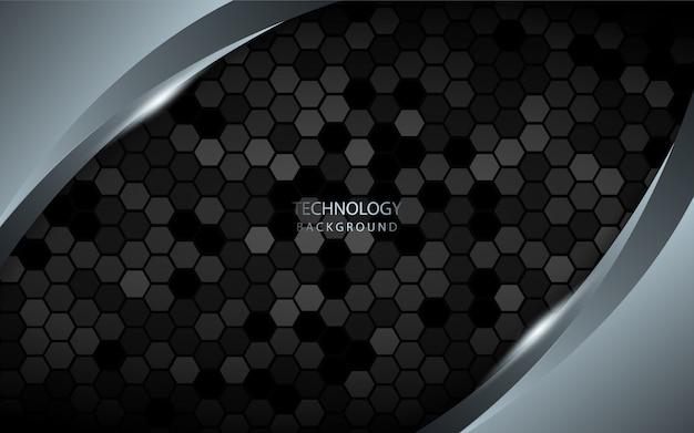 Абстрактный серебряный фон на темном шестиугольнике Premium векторы