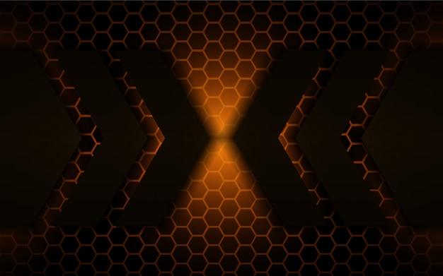 Абстрактные черные металлические формы с золотым светлом фоне Premium векторы