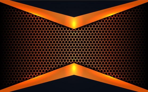 Абстрактные металлические формы на фоне шестиугольника Premium векторы