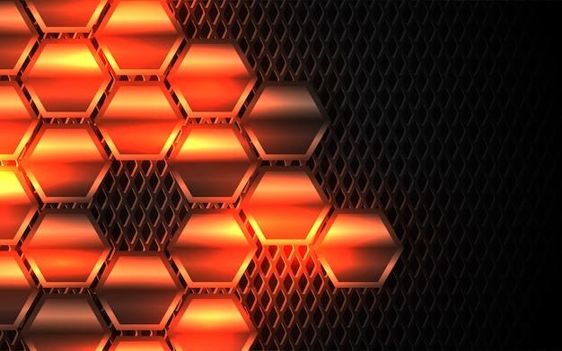 Абстрактный легкий металлический фон с шестигранной формы Premium векторы