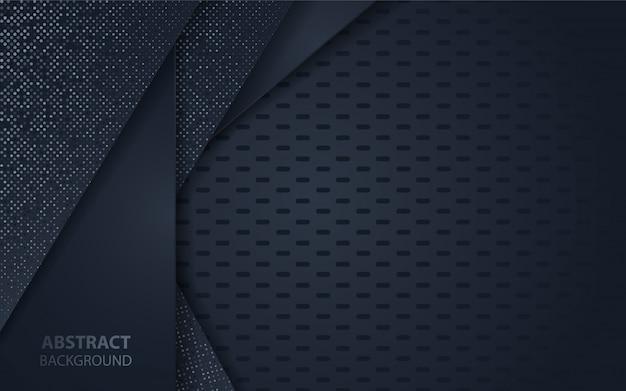 黒のオーバーラップレイヤーと暗い青の抽象的な背景。キラキラドット要素装飾テクスチャ Premiumベクター