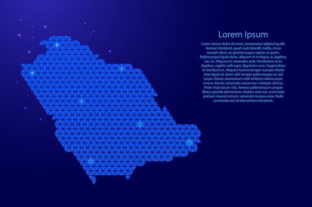 青い三角形テンプレートを持つサウジアラビア地図抽象的な回路図 Premiumベクター