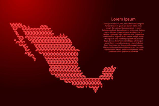 メキシコは、バナー、ポスター、グリーティングカードのノードと幾何学的な繰り返しの赤い三角形から抽象的な回路図をマップします。 。 Premiumベクター