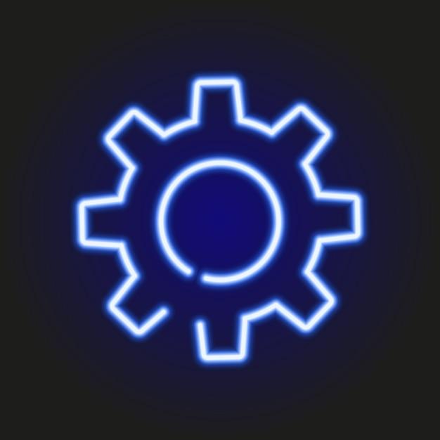 歯車、ベクトル図の青いネオン輝くシルエット Premiumベクター