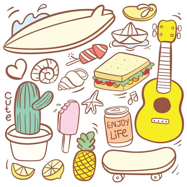 かわいい様々な食べ物落書き漫画 Premiumベクター
