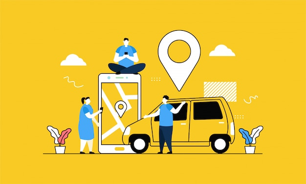 オンラインタクシーバナー Premiumベクター