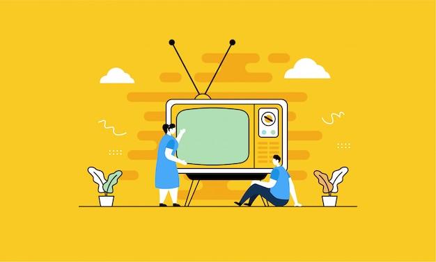 フラットスタイルでレトロなテレビを見る Premiumベクター