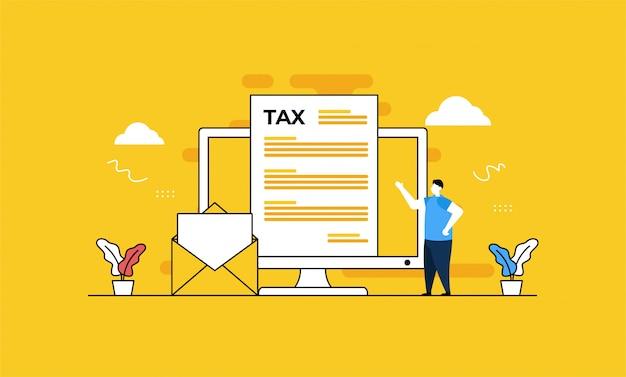 Онлайн налоговая иллюстрация Premium векторы