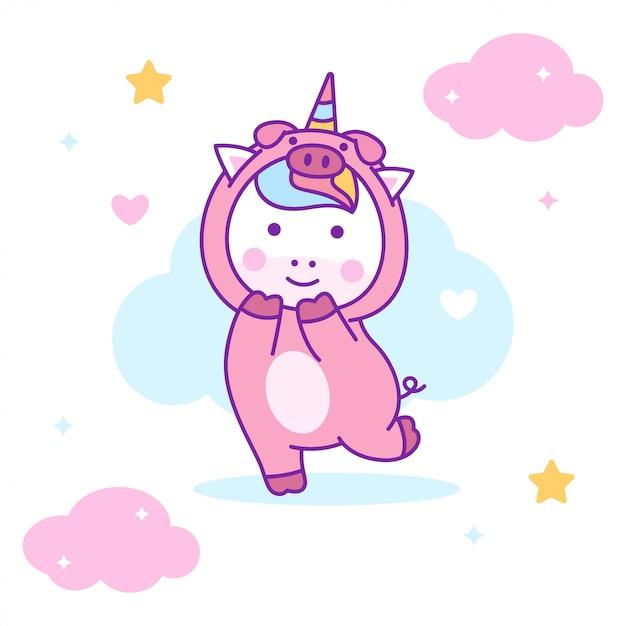豚の衣装を着てかわいいユニコーン Premiumベクター