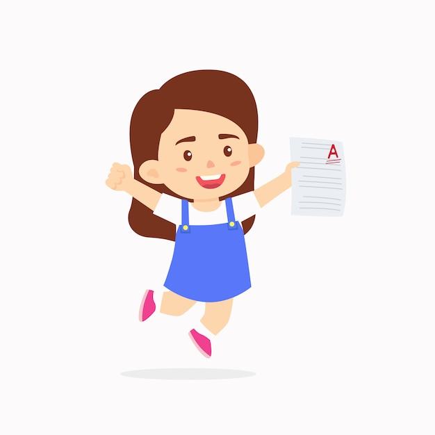 優秀な成績を祝っている女の子の子供たち Premiumベクター