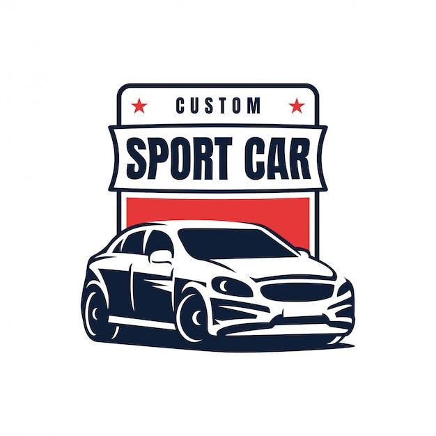 スポーツ車のバッジのロゴデザインベクトル図 Premiumベクター