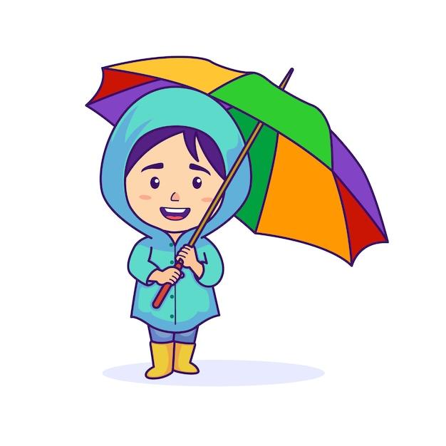 レインコートを着ていると傘を保持している女の子 Premiumベクター