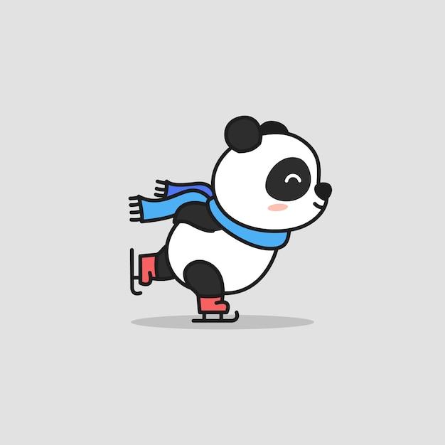 かわいいパンダアイススケート漫画 Premiumベクター