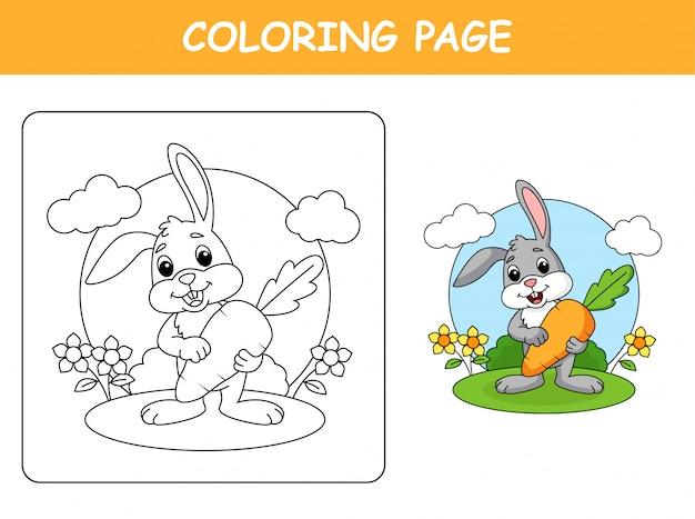 Милый кролик держит морковку Premium векторы