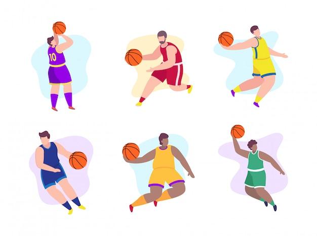 Баскетболисты плоской иллюстрации Premium векторы