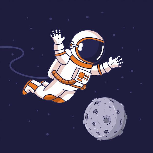 Летающий космонавт в космосе Premium векторы