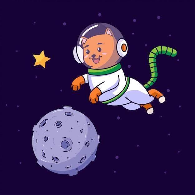 宇宙を飛んでいる猫の宇宙飛行士 Premiumベクター