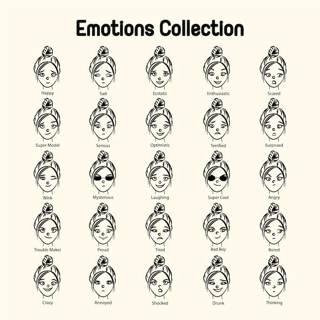 女の子の顔の感情のコレクション 無料ベクター