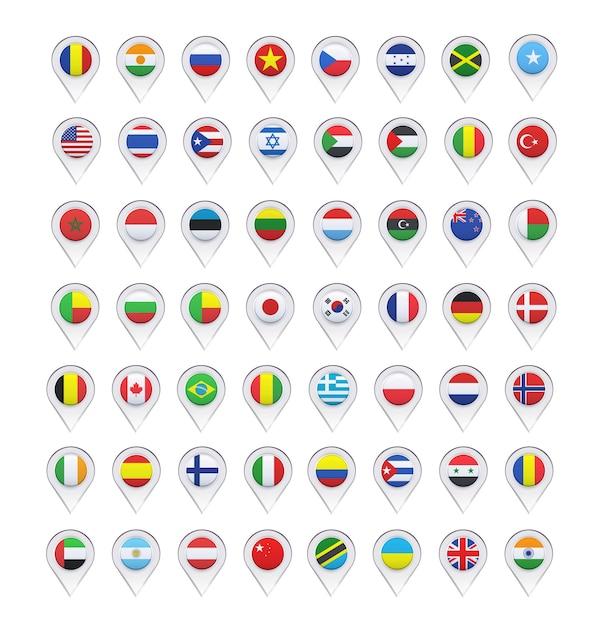 Дизайн флага коллекции указателей Бесплатные векторы