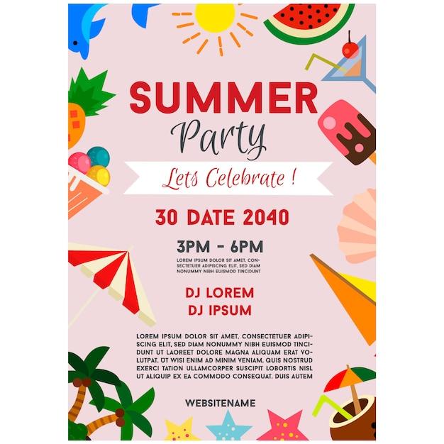 夏のパーティーポスターお祝いフラット要素の境界線図 Premiumベクター