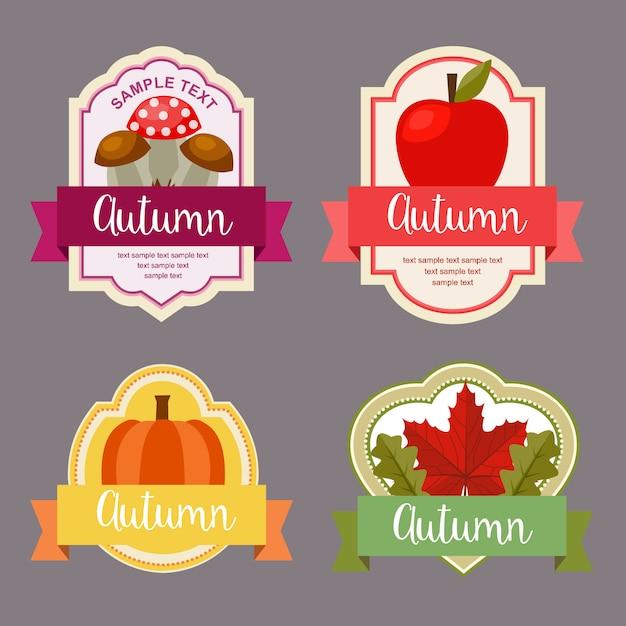 秋の紅葉、自然の要素セットを持つフラットスタイルラベル Premiumベクター