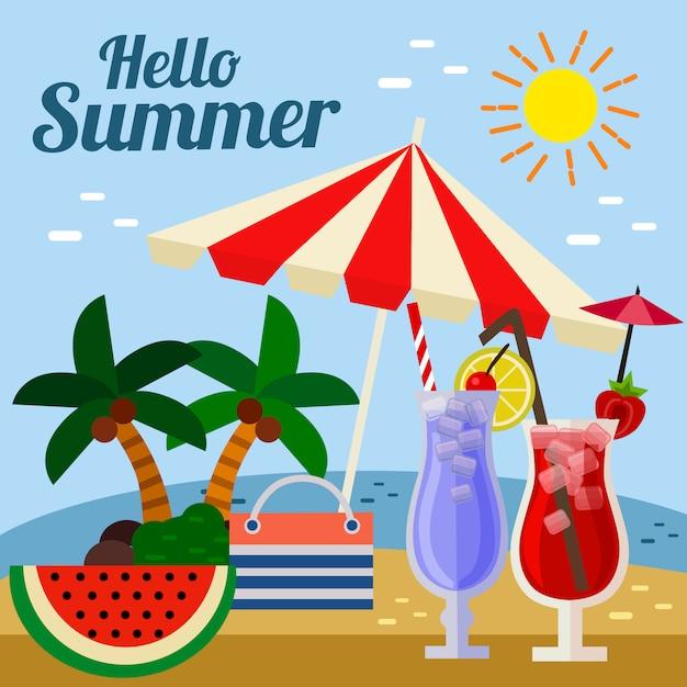 こんにちは夏傘ビーチカクテル Premiumベクター