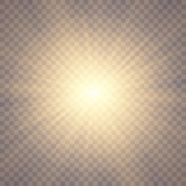 Солнечный свет фон. светящиеся световые эффекты. солнечные блики. Premium векторы