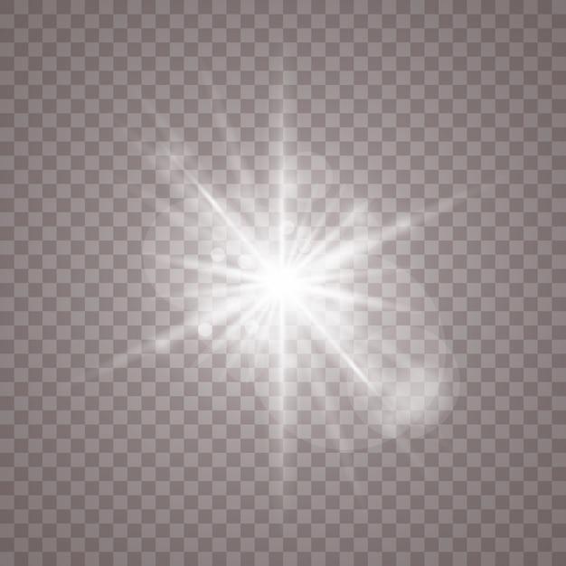 Белый светящийся светлый фон. яркая звезда. прозрачное сияющее солнце Premium векторы