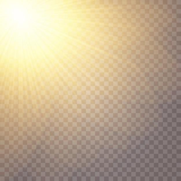 グローライト効果。星はスパンコールを点滅させました。太陽のまぶしさ。 Premiumベクター