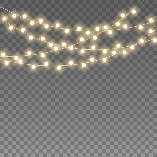 ライト。金色に輝くガーランドは、ネオンランプを導いた。 Premiumベクター