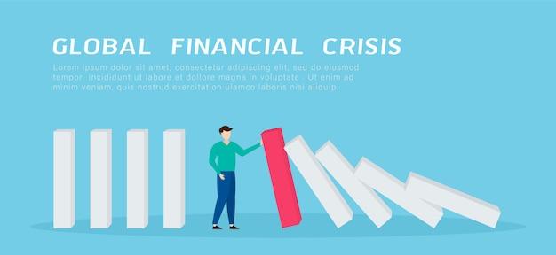 Мировой финансовый кризис. бизнесмен, остановив падение домино. Premium векторы