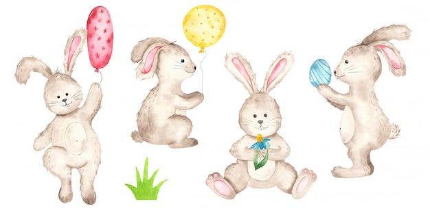 かわいいイースターのウサギの水彩画 Premiumベクター